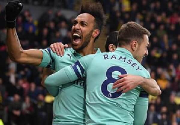 Arsenal beat 10 man Watford to climb to the fourth position
