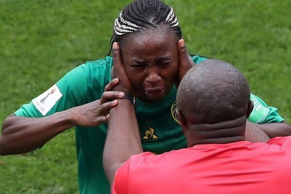 Cameroon women visibly upset during match against England