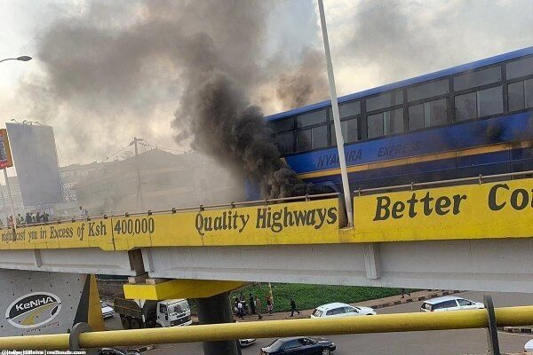 Nyamira Express bus burst into flames in Nairobi (video)