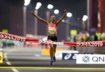 Ruth Chepngetich winning the first gold medal in women race