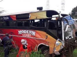 A Modern Bus has been involved in an accident