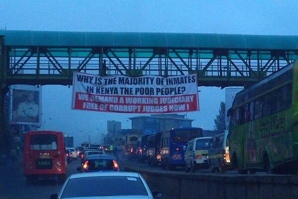 Mysterious banners hanged on Thika Road tear into the Judiciary