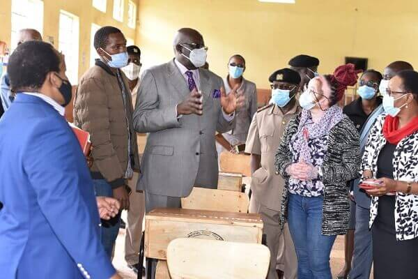 CS Magoha access ongoing school desk project in Nyeri