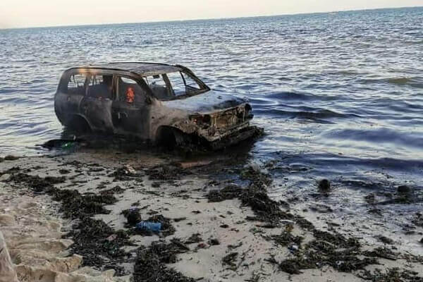 Vehicle burst into flames at Shelly beach Mombasa